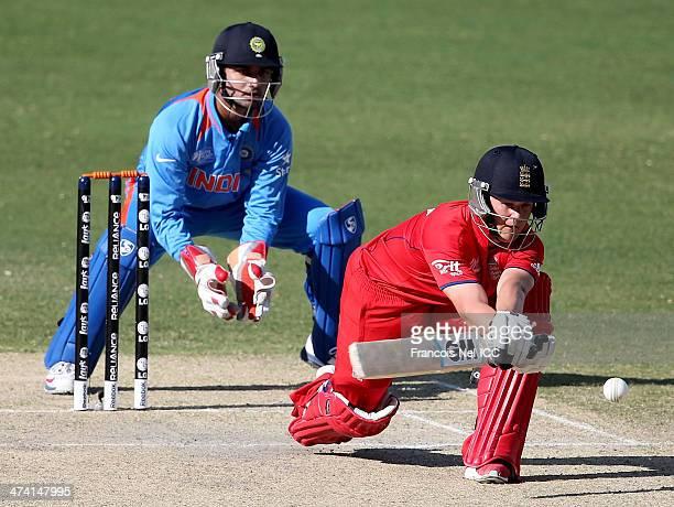 Ben Duckett of England bats during the ICC U19 Cricket World Cup 2014 Quarter Final match between England and India at the Dubai Sports City Cricket...