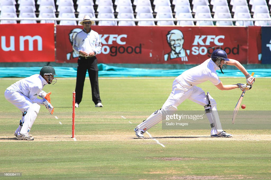 Ben Duckett of England in action during day 3 of the U/19 1st Youth Test match between South Africa and England at Sahara Park Newlands on January 29, 2013 in Cape Town, South Africa