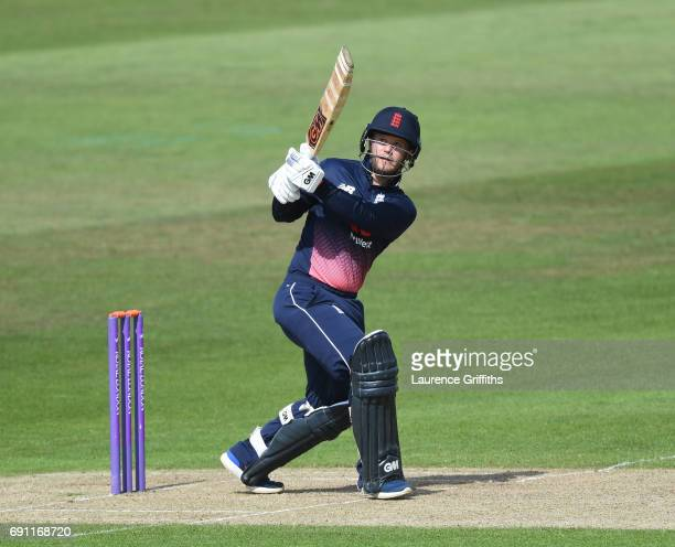 Ben Duckett of England Lions hirs out during the One Day International match between England Lions and SouthAfrica A at Trent Bridge on June 1 2017...