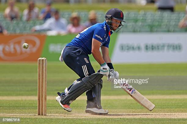 Ben Duckett of England Lions plays a scoop shot during the Royal London OneDay match between England Lions and Sri Lanka A at The Spitfire Ground on...