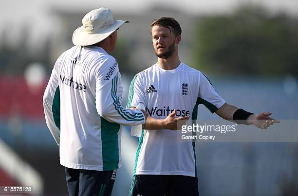 Ben Duckett of England speaks with coach Trevor Bayliss during a nets session at Zohur Ahmed Chowdhury Stadium on October 19 2016 in Chittagong...
