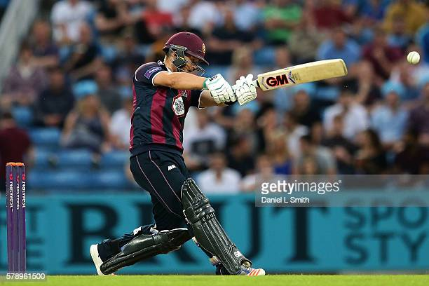 Ben Duckett of Northampton bats during the NatWest T20 Blast match between Yorkshire Vikings and Nothamptonshire Steelbacks at Headingley on July 22...