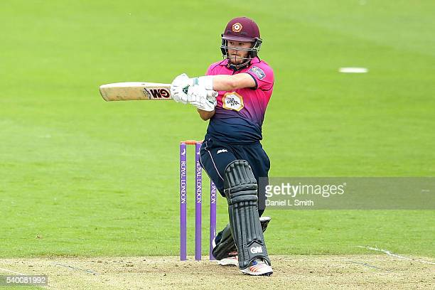Ben Duckett of Northamptonshire bats during the Royal London OneDay Cup match between Yorkshire and Northamptonshire on June 14 2016 in Scarborough...