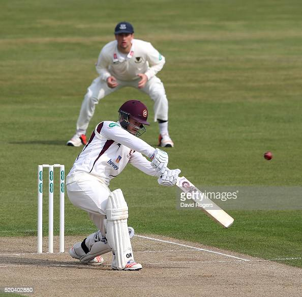 Ben Duckett of Northamptonshire hits four runs during the Specsavers County Championship division two match between Northamptonshire and Sussex at...
