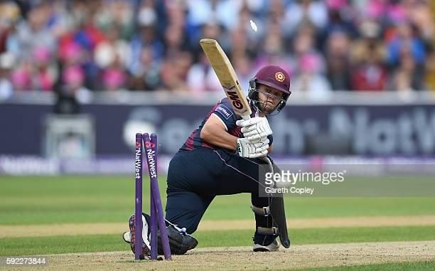 Ben Duckett of Northamptonshire is bowled by Jake Ball of Nottinghamshire during the NatWest t20 Blast Semi Final between Northamptonshire and...