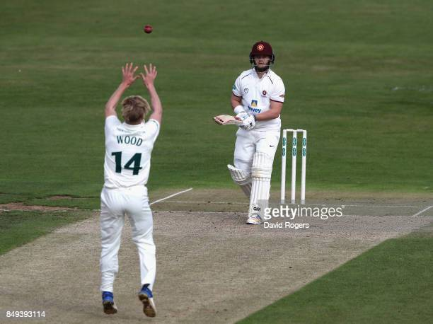 Ben Duckett of Northamptonshire is out caught and bowled Luke Wood during the Specsavers County Championship Division Two match between...