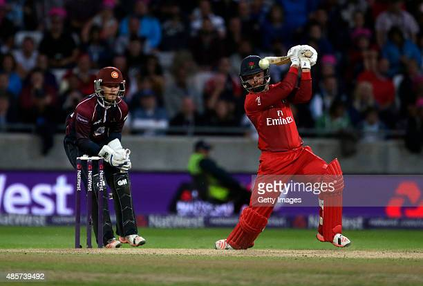 Ben Duckett of Northamptonshire looks on as Arron Lilley of Lancashire scores runs during the NatWest T20 Blast Final between Lancashire Lightning...