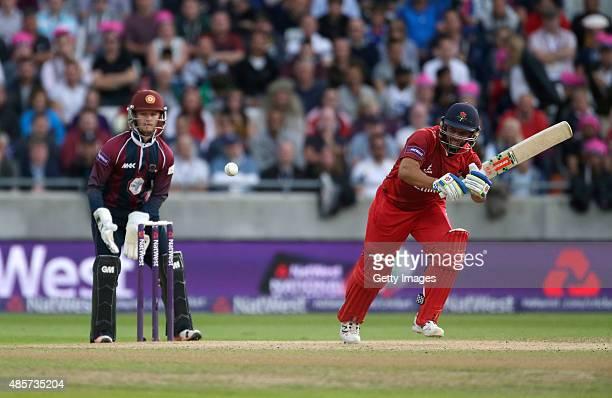 Ben Duckett of Northamptonshire looks on as Ashwell Prince of Lancashire scores runs during the NatWest T20 Blast Final between Lancashire Lightning...