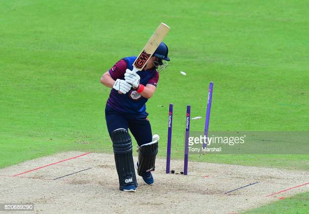 Ben Duckett of Northamptonshire Steelbacks is bowled out by Luke Wood of Nottinghamshire Outlaws during the NatWest T20 Blast between Nottinghamshire...