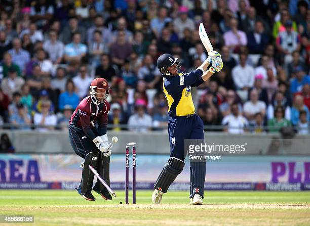 Ben Duckett of Northhamptonshire looks on as Rikki Clarke of Warwickshire is bowled by Rory Kleinveldt during the NatWest T20 Blast Semi Final match...