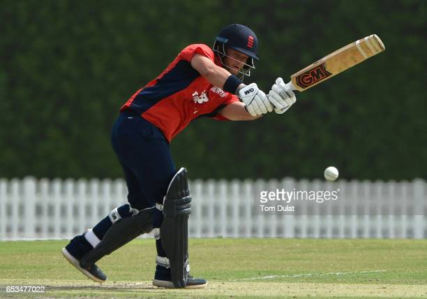 Ben Duckett of The North bats during their warm up session prior to the ECB North versus South Series on March 15 2017 in Dubai United Arab Emirates