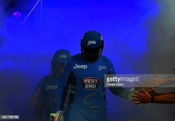 Ben Dunk and Tim Ludeman of the Adelaide Strikers walk out to bat during the Big Bash League match between the Adelaide Strikers and the Melbourne...