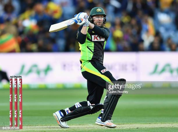Ben Dunk of Australia bats during the second International Twenty20 match between Australia and Sri Lanka at Simonds Stadium on February 19 2017 in...