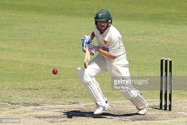 Ben Dunk of Tasmania bats during day four of the Sheffield Shield match between Western Australia and Tasmania at WACA on November 20 2016 in Perth...