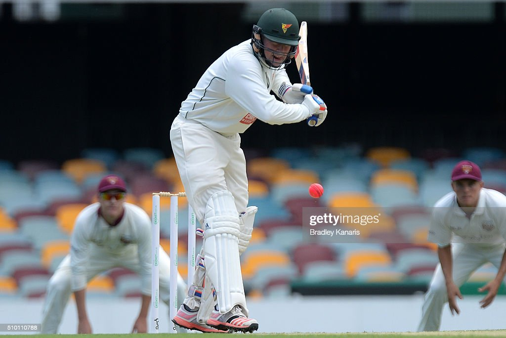 Ben Dunk of Tasmania bats during day one of the Sheffield Shield match between Queensland and Tasmania at The Gabba on February 14, 2016 in Brisbane, Australia.