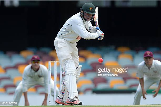 Ben Dunk of Tasmania bats during day one of the Sheffield Shield match between Queensland and Tasmania at The Gabba on February 14 2016 in Brisbane...