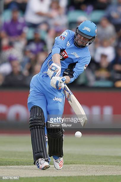 Ben Dunk of the Adelaide Stikers bats during the Big Bash League match between the Hobart Hurricanes and Adelaide Strikers at Blundstone Arena on...
