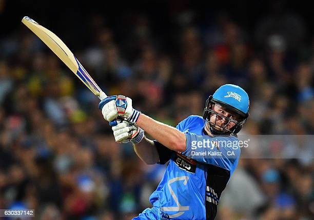Ben Dunk of the Adelaide Strikers bats during the Big Bash League match between the Adelaide Strikers and Brisbane Heat at Adelaide Oval on December...