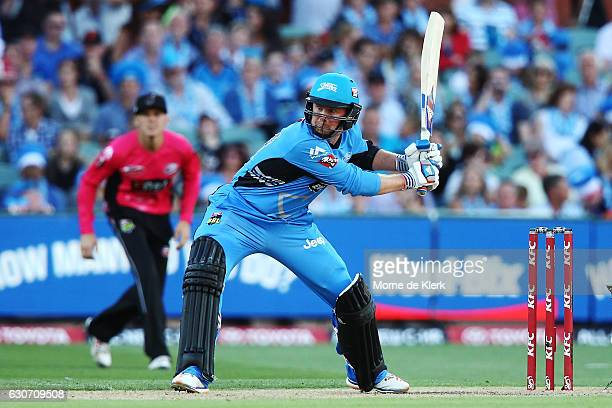 Ben Dunk of the Adelaide Strikers bats during the Big Bash League match between the Adelaide Strikers and Sydney Sixers at Adelaide Oval on December...