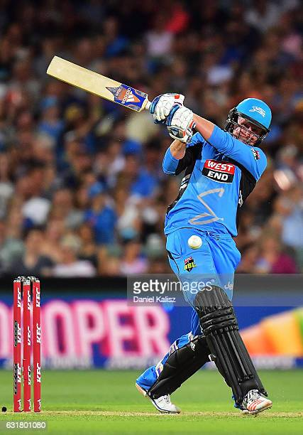 Ben Dunk of the Adelaide Strikers bats during the Big Bash League match between the Adelaide Strikers and the Melbourne Renegades at Adelaide Oval on...