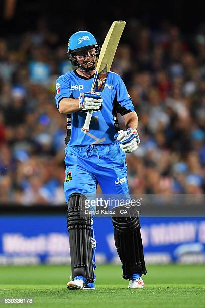 Ben Dunk of the Adelaide Strikers reacts after reaching his half century during the Big Bash League match between the Adelaide Strikers and Brisbane...