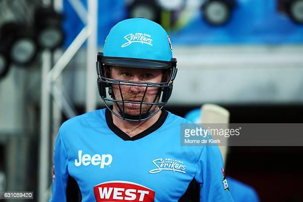 Ben Dunk of the Adelaide Strikers walk out to bat during the Big Bash League match between the Adelaide Strikers and the Hobart Hurricanes at...