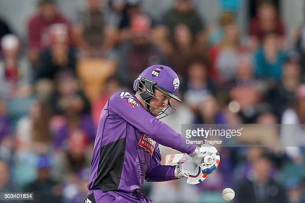 Ben Dunk of the Hobart Hurricanes bats during the Big Bash League match between the Hobart Hurricanes and the Melbourne Renegades at Blundstone Arena...