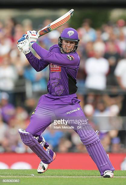 Ben Dunk of the Hurricanes bats during the Big Bash League match between the Hobart Hurricanes and the Sydney Thunder at Blundstone Arena on January...
