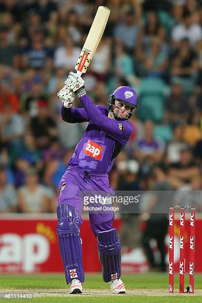 Ben Dunk of the Hurricanes hits the ball during the Big Bash League match between the Hobart Hurricanes and the Melbourne Renegades at Blundstone...