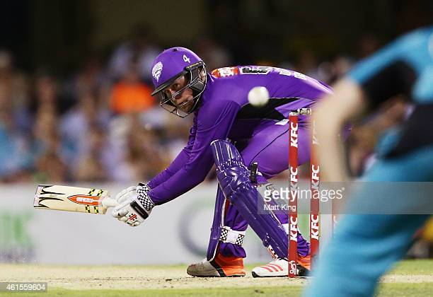 Ben Dunk of the Hurricanes nicks a ball to be caught by wicketkeeper Jimmy Pierson of the Heat during the Big Bash League match between the Brisbane...