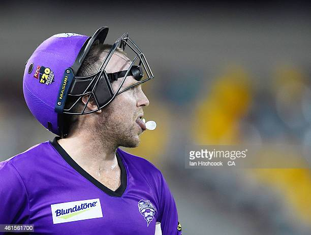 Ben Dunk of the Hurricanes waits for a third umpire decision during the Big Bash League match between the Brisbane Heat and Hobart Hurricanes at The...