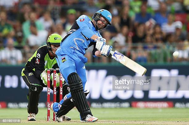 Ben Dunk of the Strikers bats during the Big Bash League match between the Sydney Thunder and the Adelaide Strikers at Spotless Stadium on January 18...