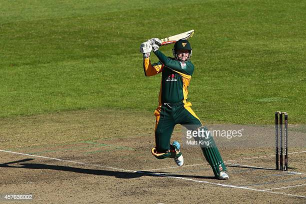Ben Dunk of the Tigers bats during the Matador BBQs One Day Cup match between Tasmania and South Australia at North Sydney Oval on October 22 2014 in...