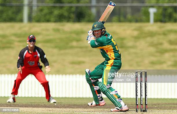 Ben Dunk of the Tigers bats during the Matador BBQs One Day Cup match between South Australia and Tasmania at Blacktown International Sportspark on...