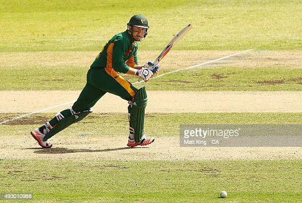 Ben Dunk of the Tigers bats during the Matador BBQs One Day Cup match between Tasmania and Western Australia at Drummoyne Oval on October 17 2015 in...