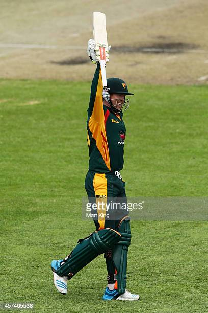 Ben Dunk of the Tigers celebrates and acknowledges the crowd after scoring a double century during the Matador BBQs One Day Cup match between...