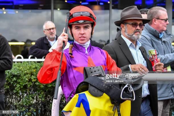Ben E Thompson after winning the Spicer Thoroughbreds Handicap at Ladbrokes Park Hillside Racecourse on August 16 2017 in Springvale Australia