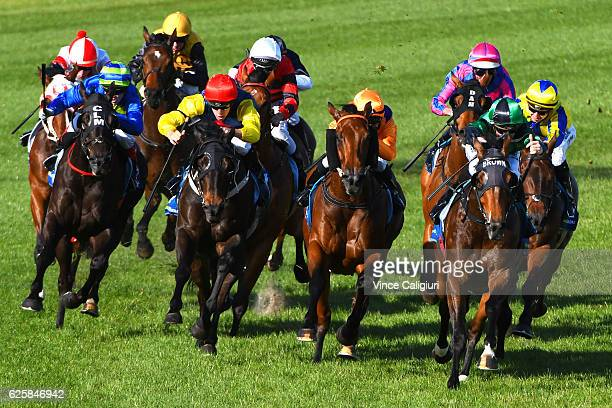 Ben E Thompson riding King's Command behind the leader before winning Race 9 during Melbourne racing at Moonee Valley Racecourse on November 26 2016...