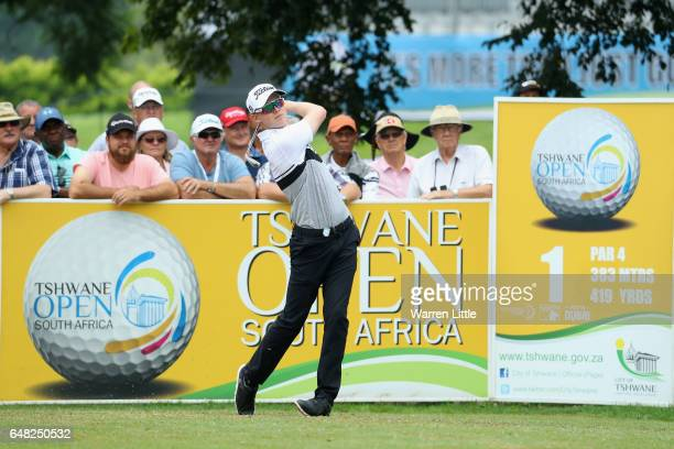 Ben Eccles of Australia tees off on the first hole during the final round of the Tshwane Open at Pretoria Country Club on March 5 2017 in Pretoria...