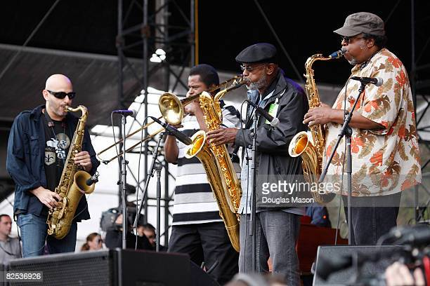 Ben Ellman of Galactic Keith Andersson Roger Lewis and Kevin Harris of the Dirty Dozen jam with Galactic at the Outside Lands Festival at Golden Gate...
