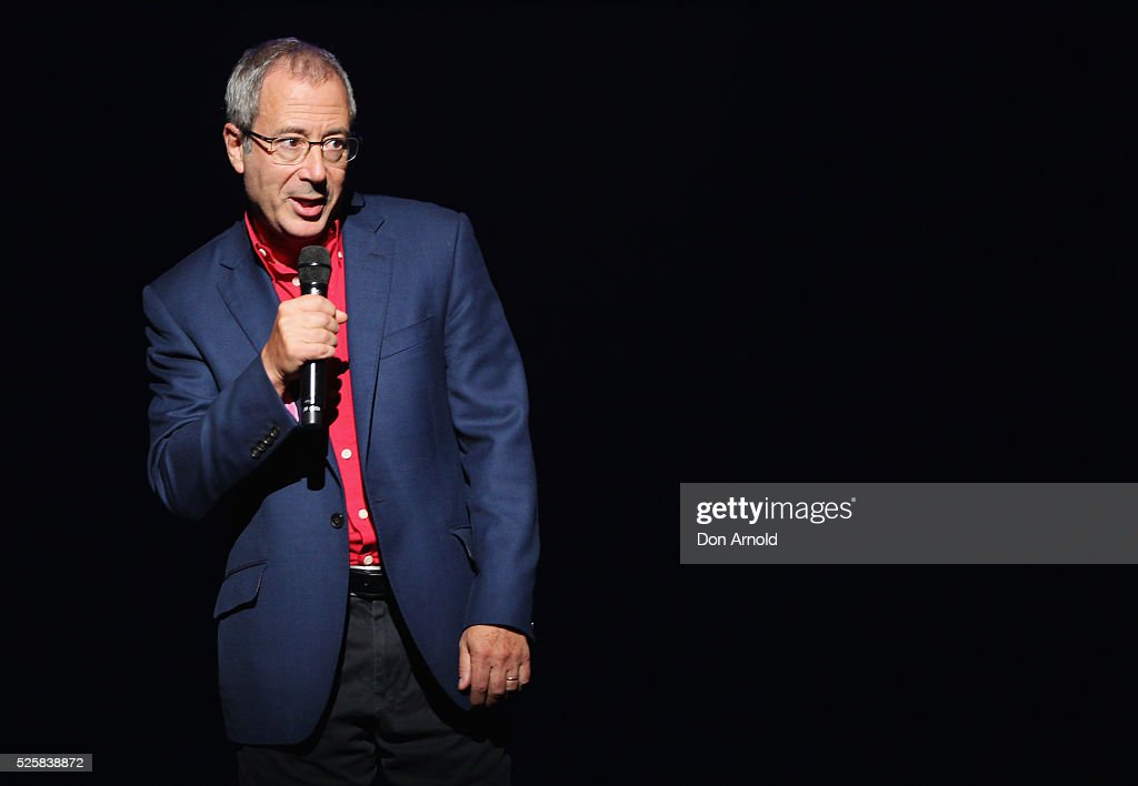 <a gi-track='captionPersonalityLinkClicked' href=/galleries/search?phrase=Ben+Elton&family=editorial&specificpeople=210845 ng-click='$event.stopPropagation()'>Ben Elton</a> addresses the media during the 'We Will Rock You' media call at Lyric Theatre, Star City on April 29, 2016 in Sydney, Australia.
