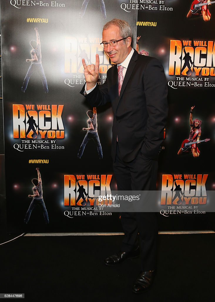 <a gi-track='captionPersonalityLinkClicked' href=/galleries/search?phrase=Ben+Elton&family=editorial&specificpeople=210845 ng-click='$event.stopPropagation()'>Ben Elton</a> arrives ahead of We Will Rock You Opening Night at Lyric Theatre, Star City on May 5, 2016 in Sydney, Australia.