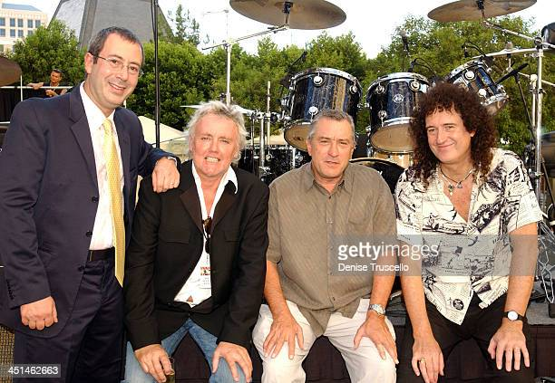 Ben Elton book writer Roger Taylor of Queen Robert De Niro producer and Brian May of Queen