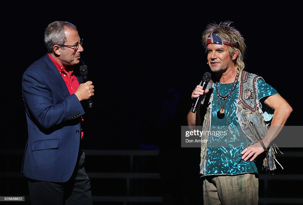 <a gi-track='captionPersonalityLinkClicked' href=/galleries/search?phrase=Ben+Elton&family=editorial&specificpeople=210845 ng-click='$event.stopPropagation()'>Ben Elton</a> chats to Brian Mannix during the 'We Will Rock You' media call at Lyric Theatre, Star City on April 29, 2016 in Sydney, Australia.
