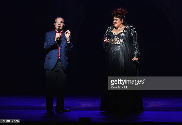 Ben Elton chats to Casey Donovan during the 'We Will Rock You' media call at Lyric Theatre Star City on April 29 2016 in Sydney Australia