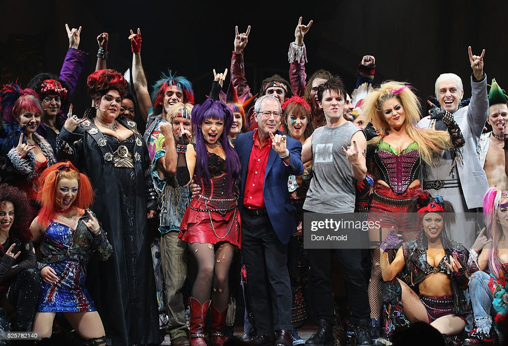 <a gi-track='captionPersonalityLinkClicked' href=/galleries/search?phrase=Ben+Elton&family=editorial&specificpeople=210845 ng-click='$event.stopPropagation()'>Ben Elton</a> (C) stands alongside cast members during the 'We Will Rock You' media call at Lyric Theatre, Star City on April 29, 2016 in Sydney, Australia.