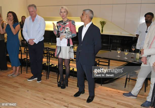 Ben Evans and Justine Simons Deputy Mayor for Culture and the Creative Industries look on as Mayor of London Sadiq Khan speaks at the Mayor of...