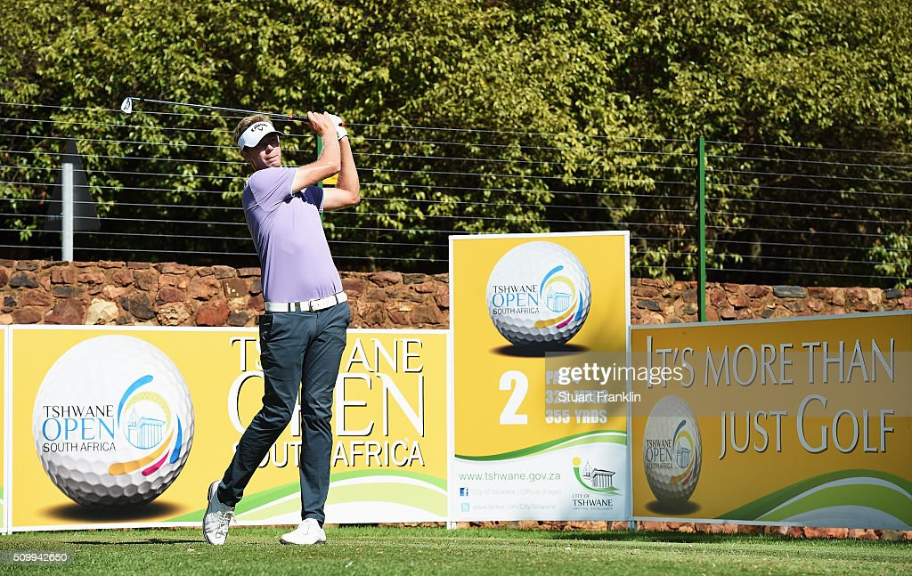 Ben Evans of England plays a shot during the third round of the Tshwane Open at Pretoria Country Club on February 13, 2016 in Pretoria, South Africa.