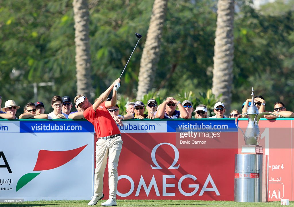 Ben Evans of England plays his tee shot at the par 4, first hole during the third round of the 2016 Omega Dubai Desert Classic on the Majlis Course at the Emirates Golf Club on February 6, 2016 in Dubai, United Arab Emirates.
