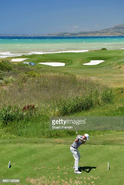Ben Evans of England tees off on the 7th hole during day three of The Rocco Forte Open at Verdura Golf and Spa Resort on May 20 2017 in Sciacca Italy